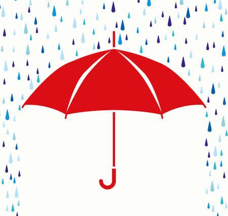 lluvia paraguas: simbolo de la protección del paraguas de la lluvia cae Vectores