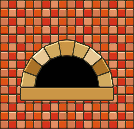 open flame: vector illustration of brick oven with empty hearth Illustration