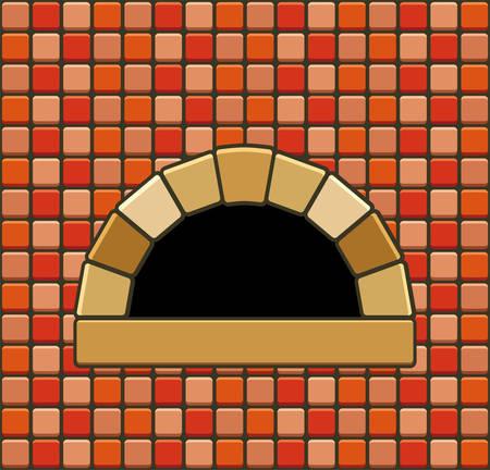 hearth: vector illustration of brick oven with empty hearth Illustration