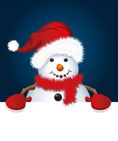 산타 모자와 장갑을 착용하는 눈사람의 벡터 크리스마스 그림