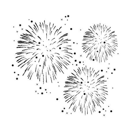 星と輝きを持つ黒と白の花火の背景をベクトルします。