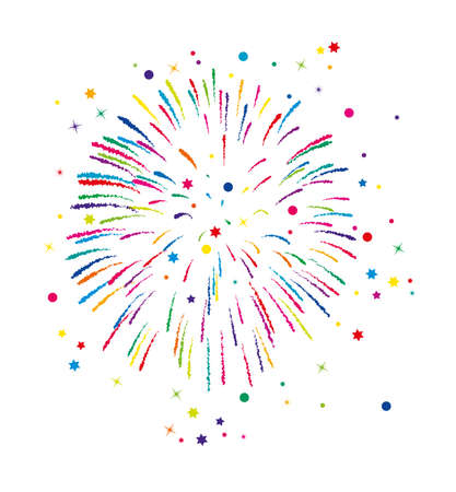 vector colorful fireworks background with stars and sparkles