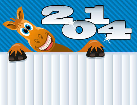 vector new year greeting background of a horse Stock Vector - 23479194