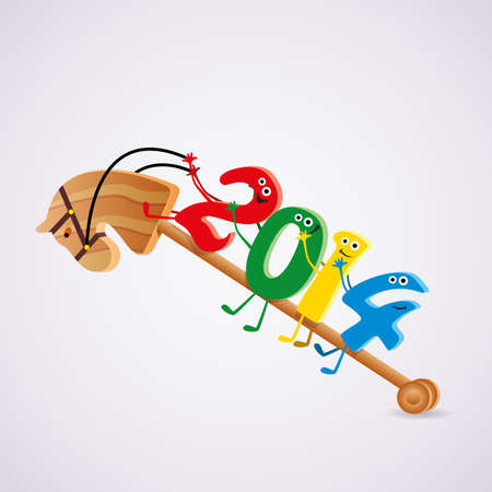 vector wooden toy horse with new year 2014 riding numbers Vector