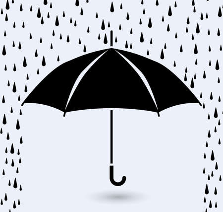 weather protection: vector symbol of umbrella protection from rain drops