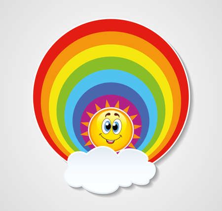 sun clipart: vector icon of rainbow, sun and cloud with copyspace