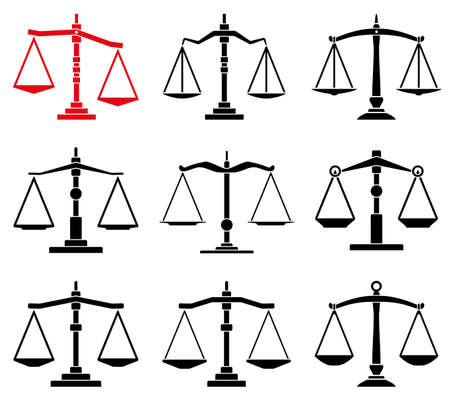 antique weight scale: vector set of law scales icons