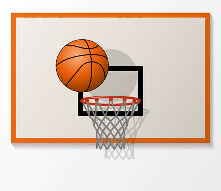 バスケット ボール ネットとセット バックボード、フープにボールのダンク シュートのベクトル イラスト