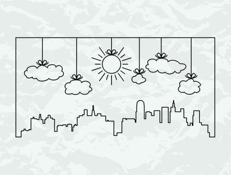 neighborhood: vector city contours of buildings and clouds Illustration