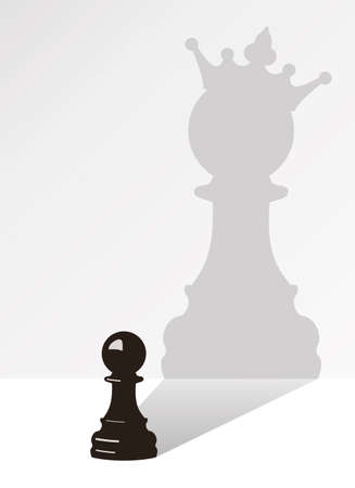 marioneta de madera: vector de pe�n de ajedrez con la sombra de la misma pe�n, pero con una corona