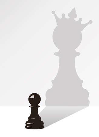 vector schaken pion met de schaduw van dezelfde pion, maar met een kroon
