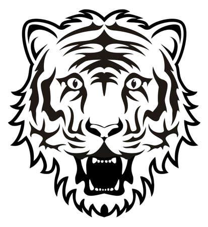 tiger white: stilizzato in bianco e nero tigre viso Vettoriali