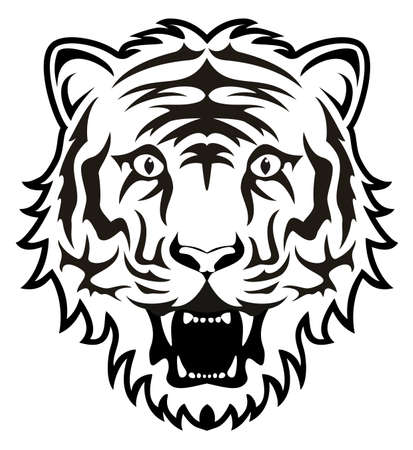 bengal cat: stylized black and white tiger face Illustration