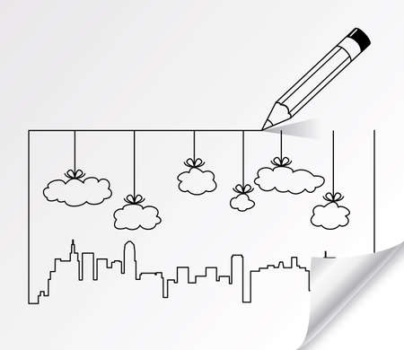 simple line drawing: pencil drawing of city contours of buildings and clouds  Illustration
