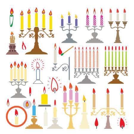 colorful silhouettes of candlesticks and candles  Vector