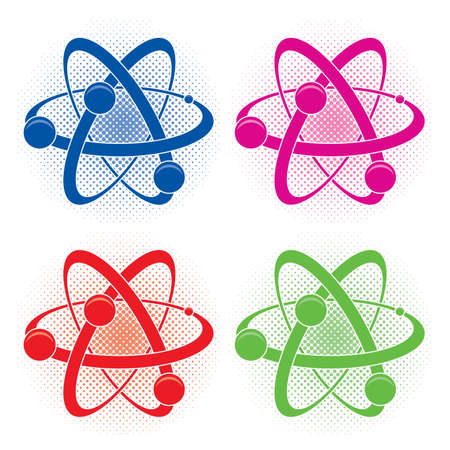 atom symbol: collection of abstract medical or chemistry symbol of atom  Illustration