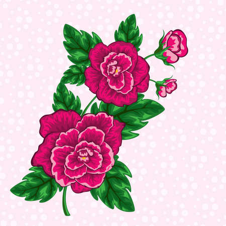 decorative floral design of tropical flowers with leaves on pink polka dot pattern  Stock Vector - 24990743