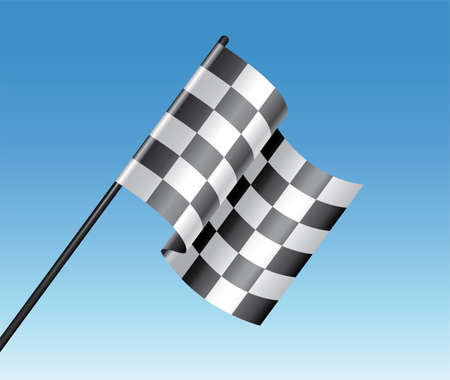 vector racing checkered flag and blue sky Vector
