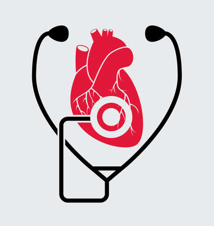 vector symbol of medical check of heart health and heartbeat with stethoscope