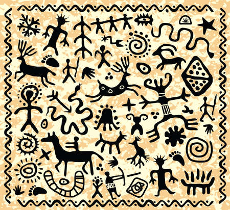 cave: vector ancient cave petroglyphs pattern