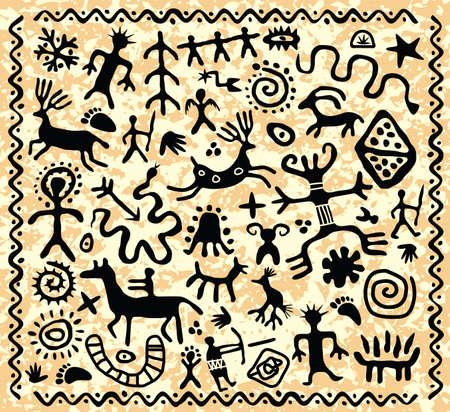 vector antigua cueva patrón de los petroglifos Ilustración de vector