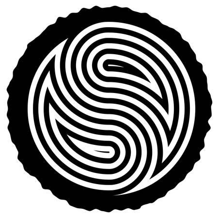 circulos concentricos: vector negro y blanco de madera del corte del tronco con anillos que forman el yin y el yang