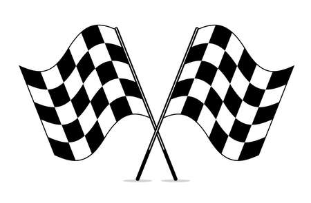 vector black and white crossed racing checkered flags clipart Illustration