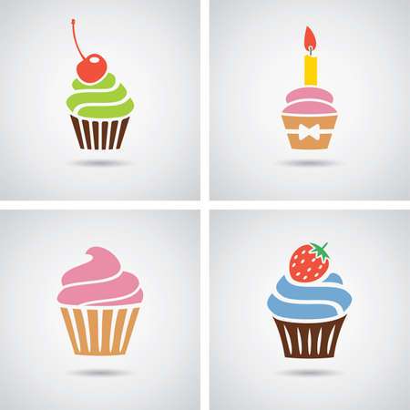 collection of isolated colorful cupcakes icons Imagens - 26047040