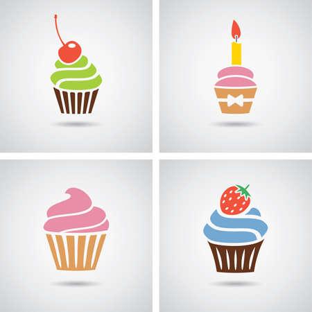 verzameling van geïsoleerde kleurrijke cupcakes pictogrammen