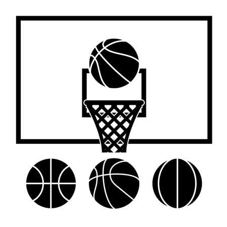 basketball hoop: collection of basketball net, backboard set and basketball balls