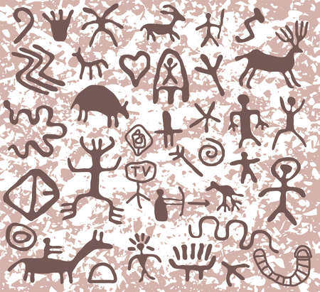 ancient cave petroglyphs pattern Vector