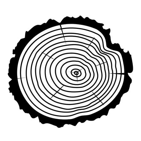 rings on a tree: black and white wooden cut of a tree log with concentric rings and bark Illustration