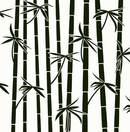 papier peint noir: bambou noir et blanc tire motif de fond Illustration