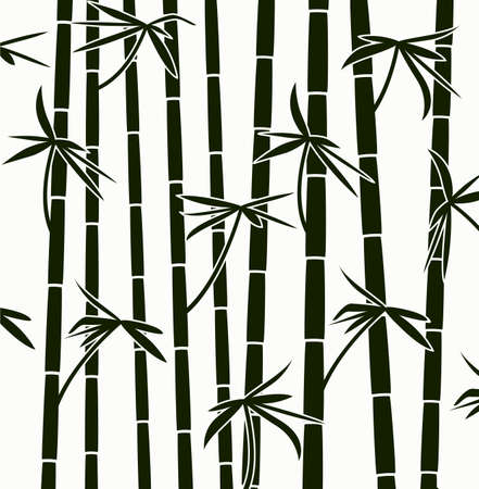 asian trees: black and white bamboo shoots background pattern