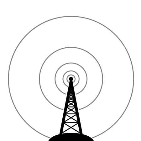 television aerial: illustration of radio tower broadcast   Illustration