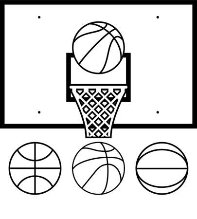 basketball shot: collection of basketball net, backboard set and basketball balls