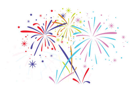 abstract anniversary bursting fireworks with stars and sparks on white background Ilustracja