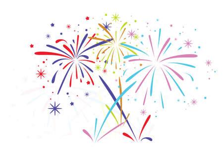 abstracte jubileum barsten vuurwerk met sterren en vonken op een witte achtergrond