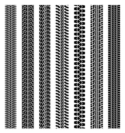 tyre tread: vector black and white detailed tyre track prints