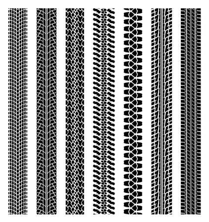 old tractor: vector zwart-wit gedetailleerde bandspoor prints