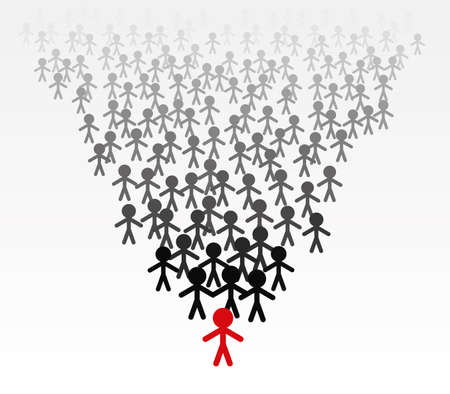 follow the leader: vector business illustration of a team of men follow their leader