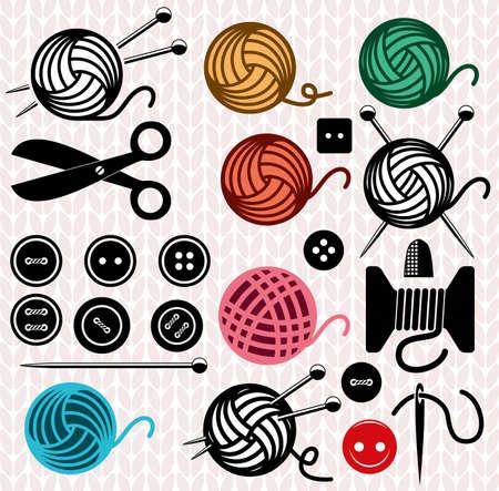 tejido de lana: bolas de hilo de vectores y los iconos de equipo de costura