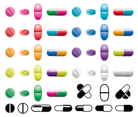 vector colorful collection of pills, capsules and black and white symbols on white background
