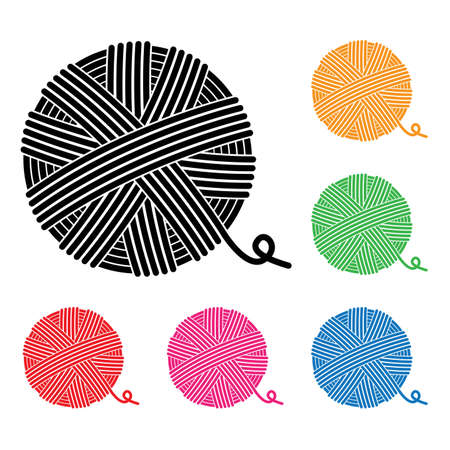 tejido de lana: vector conjunto de iconos de bolas de hilo