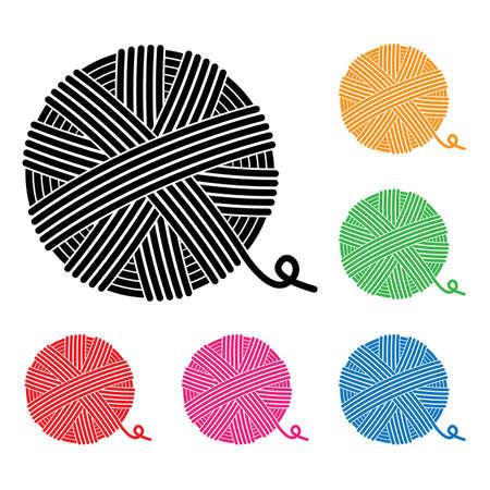 vector set of yarn ball icons