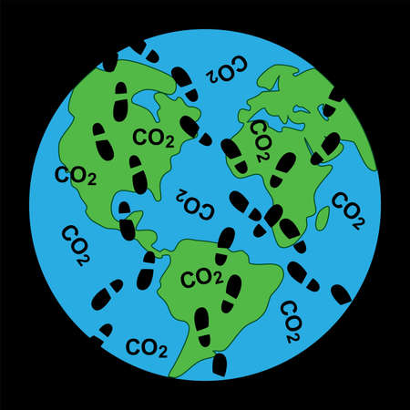 vector concept of global dirty footprints on earths ecology