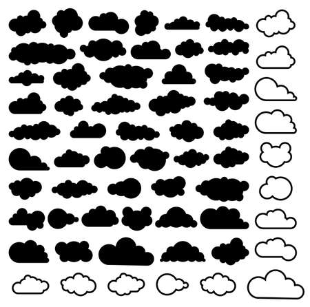 sky  clouds: vector cartoon collection of sky clouds, black and white