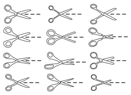 scissors cutting paper: vector icons of paper cutting scissors
