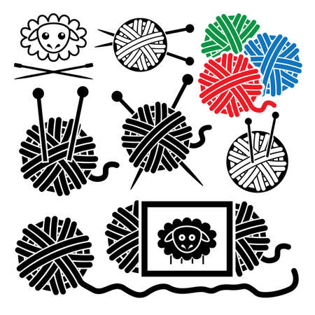 clew: vector icons of yarn balls with sewing equipment needles and sheep symbol