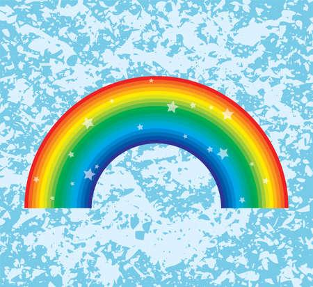 vector symbol of rainbow on grunge background Vector